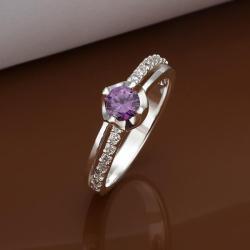 Vienna Jewelry Petite Purple Citrine Jewels Crusted Petite Ring Size: 8 - Thumbnail 0