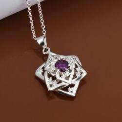 Vienna Jewelry Sterling Silver Purple Citrine Star Emblem Necklace - Thumbnail 0