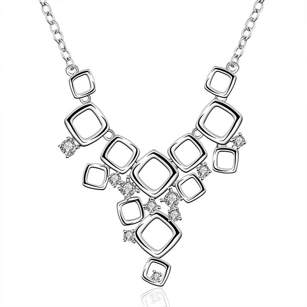 Vienna Jewelry Sterling Silver Multi-Square Design Dangling Necklace