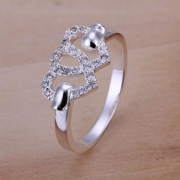 Vienna Jewelry Sterling Silver Duo Hollow Hearts Petite Ring Size: 8
