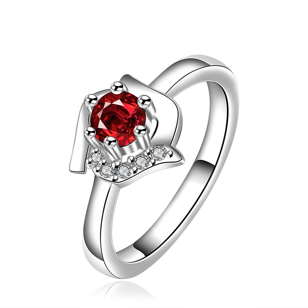 Vienna Jewelry Ruby Red Floral Shaped Petite Ring Size: 8