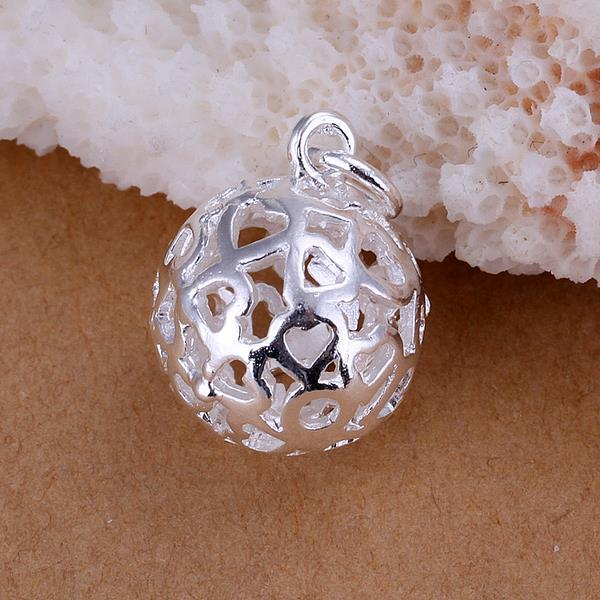Vienna Jewelry Sterling Silver Laser Cut Heart Shaped Ball Pendant