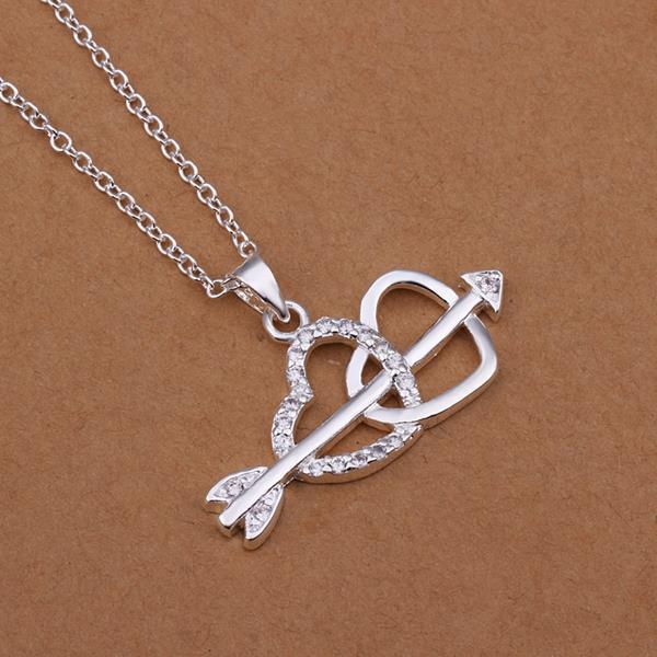 Vienna Jewelry Sterling Silver Cupid's Duo Love Necklace