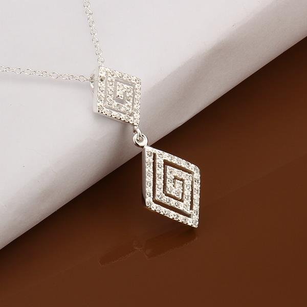 Vienna Jewelry Sterling Silver Duo Curved Diamond Shaped Drop Necklace
