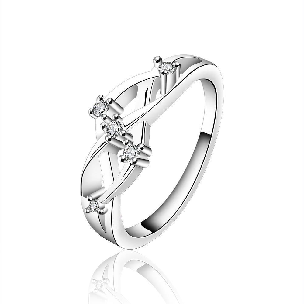 Vienna Jewelry Sterling Silver Interlocking Swirl Jewel Petite Ring Size: 7