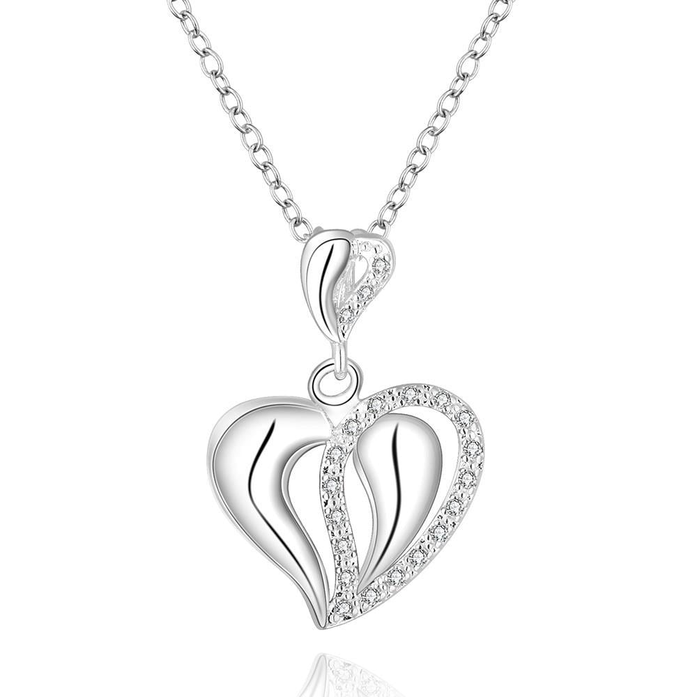Vienna Jewelry Sterling Silver Curved Laser Cut Heart Shaped Pendant Necklace