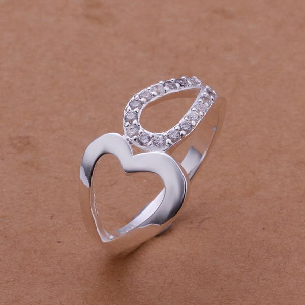 Vienna Jewelry Sterling Silver Duo Heart Shaped Classic Ring Size: 8