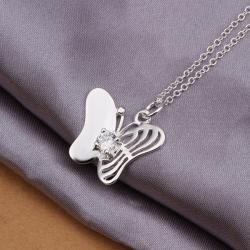 Vienna Jewelry Sterling Silver Laser Cut Petite Butterfly Necklace - Thumbnail 0