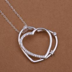 Vienna Jewelry Sterling Silver Duo Petite Heart Drop Necklace - Thumbnail 0
