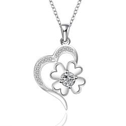 Vienna Jewelry Sterling Silver Curved Heart & Clover Drop Necklace - Thumbnail 0