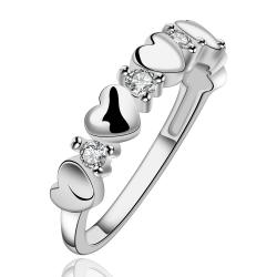 Vienna Jewelry Sterling Silver Multi Surronding Heart Shaped Ring Size: 7 - Thumbnail 0