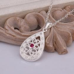 Vienna Jewelry Sterling Silver Laser Cut Ruby Gem Emblem Necklace - Thumbnail 0
