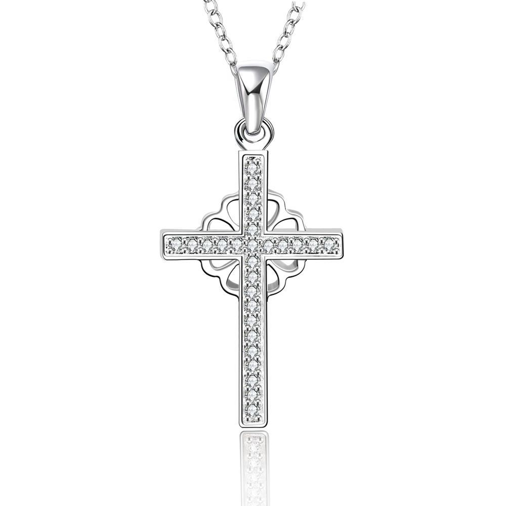 Vienna Jewelry Sterling Silver Clover & Cross Drop Necklace