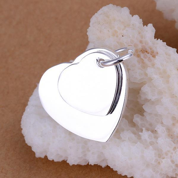 Vienna Jewelry Sterling Silver Duo Heart Pendant - Thumbnail 0