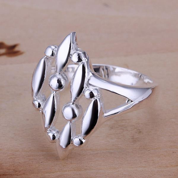 Vienna Jewelry Sterling Silver Trio-Leaf Branch Petite Ring Size: 8