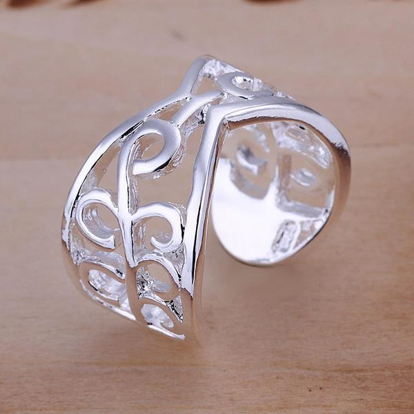 Vienna Jewelry Open Clasp Sterling Silver Laser Cut Swirl Design Resizable Ring
