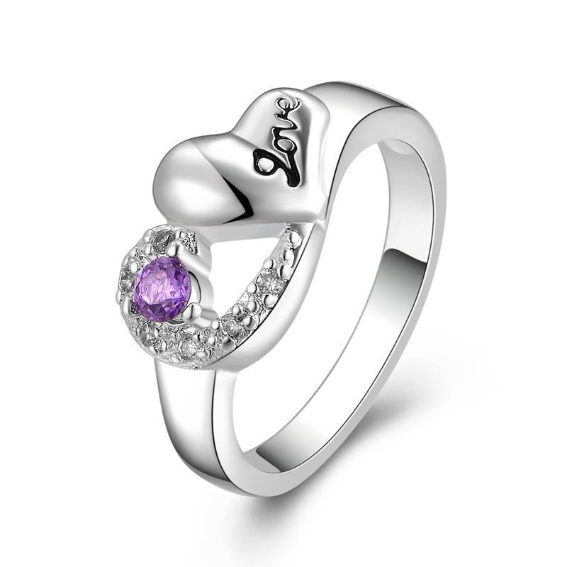 Vienna Jewelry Sterling Silver Purple Citrine Matrix Petite Ring Size: 8