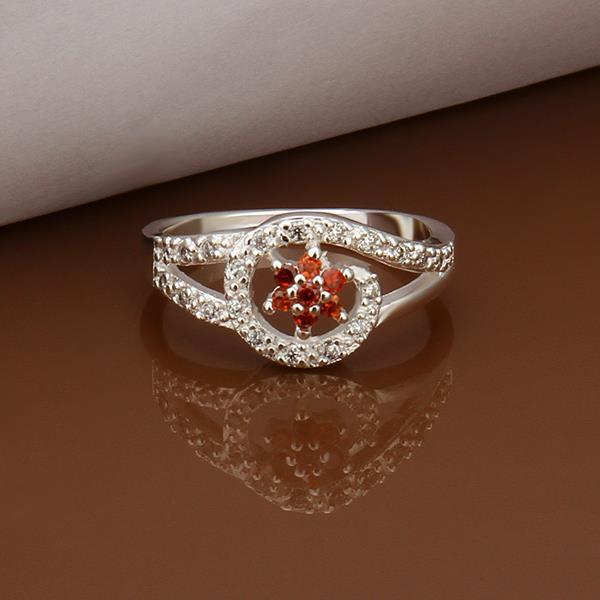 Vienna Jewelry Sterling Silver Curved Ruby Emblem Petite Ring Size: 8