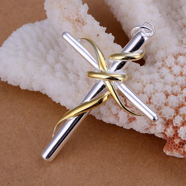 Vienna Jewelry Sterling Silver Gold Intertwined Cross Pendant