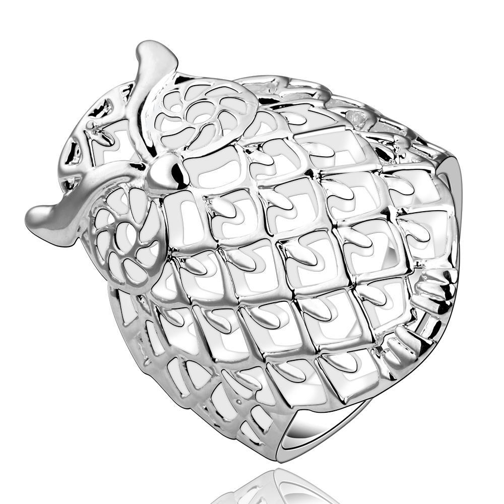 Vienna Jewelry Sterling Silver Owl Inspired Laser Cut Ring Size: 8