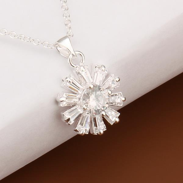 Vienna Jewelry Sterling Silver Crystal Snowflake Drop Necklace - Thumbnail 0