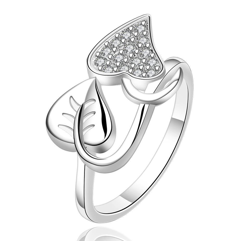 Vienna Jewelry Sterling Silver Duo-Leaf Set Ring Size: 7
