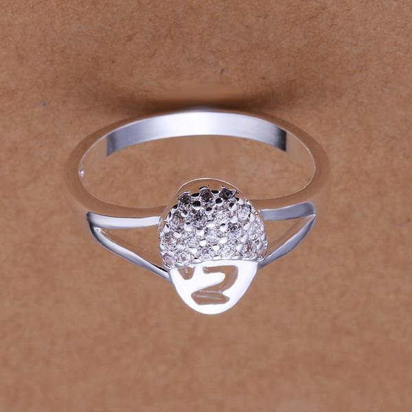 Vienna Jewelry Sterling Silver Disco Crystal Pav'e Ring Size: 8