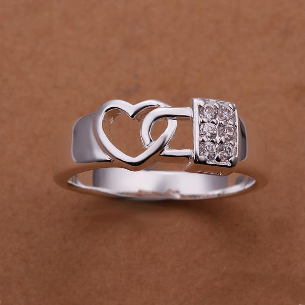 Vienna Jewelry Sterling Silver Interlocked Heart Shaped Petite Ring Size: 8