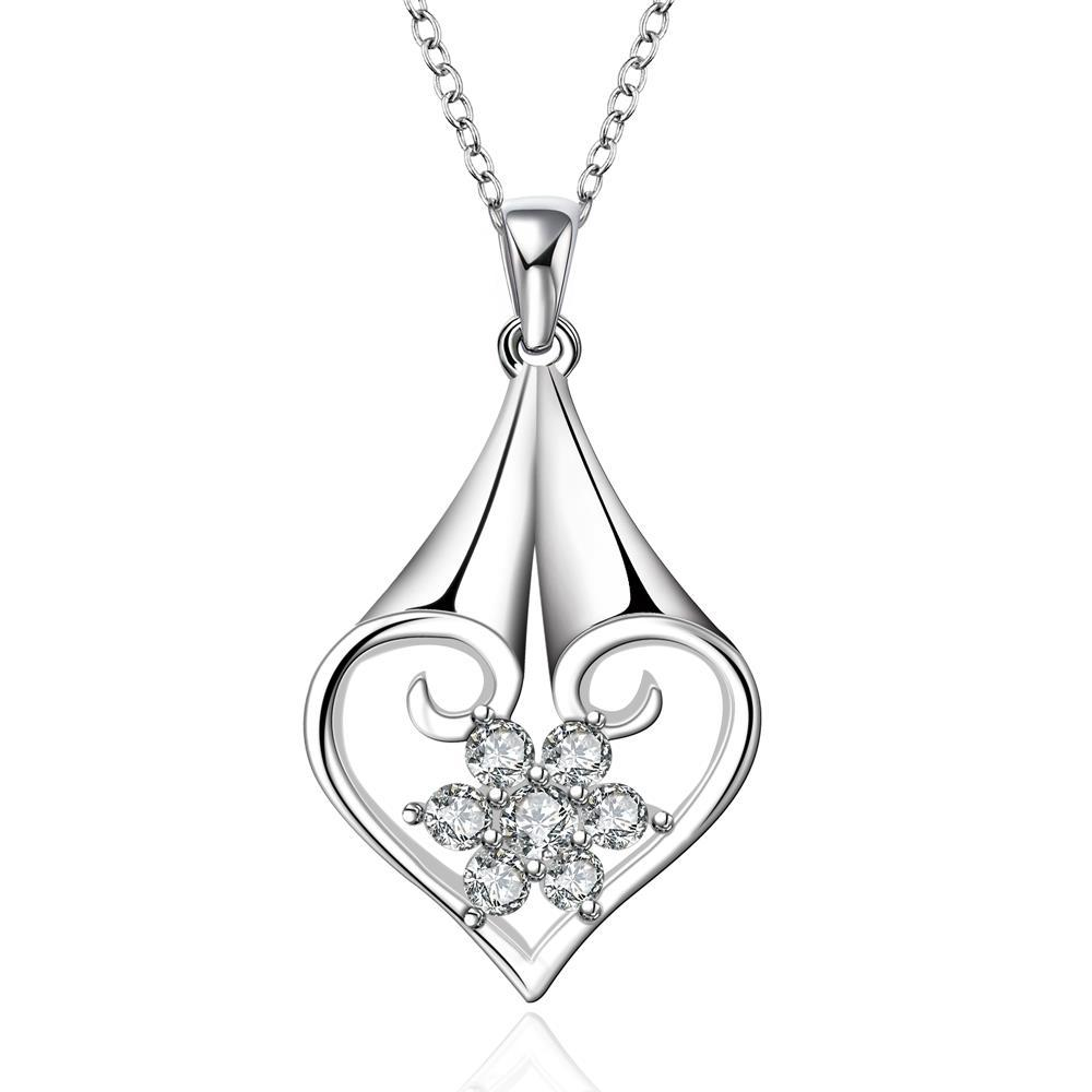 Vienna Jewelry Sterling Silver Laser Cut Pendant Drop Necklace