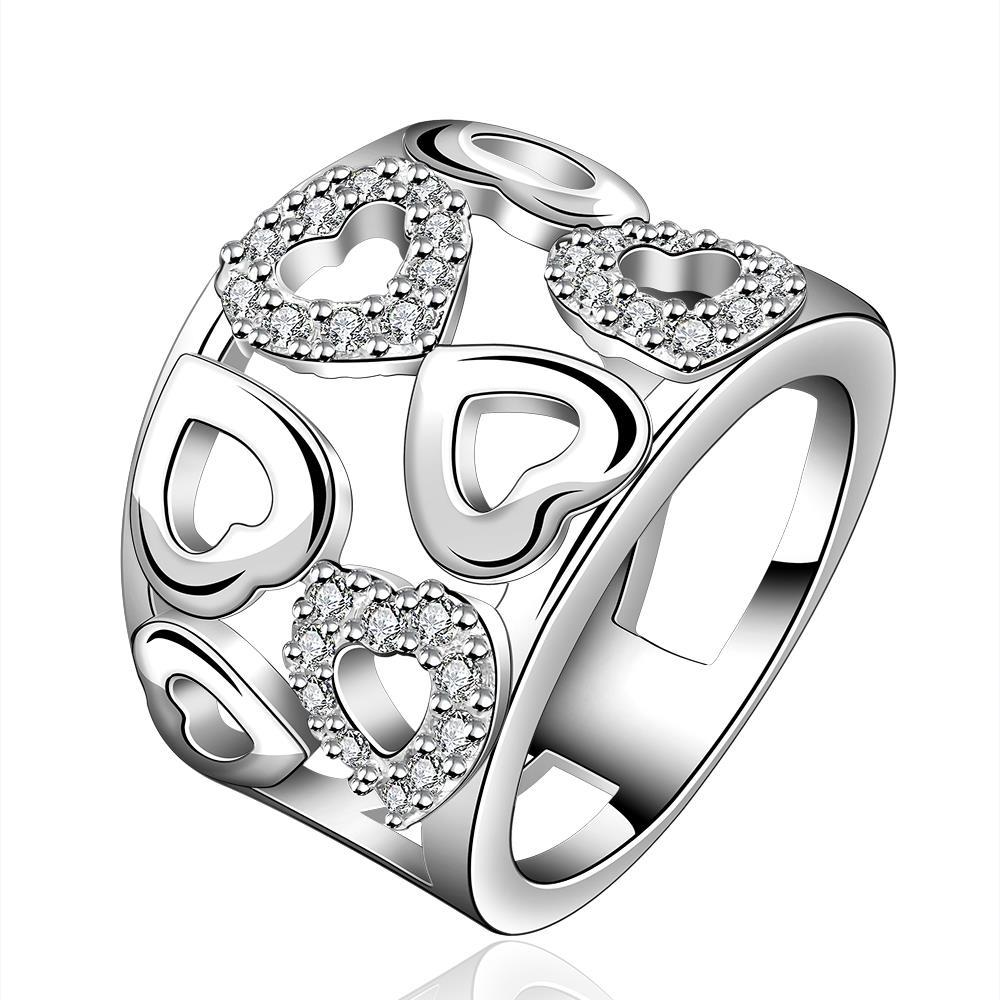 Vienna Jewelry Sterling Silver Heart Shaped Modern Ring Size: 8