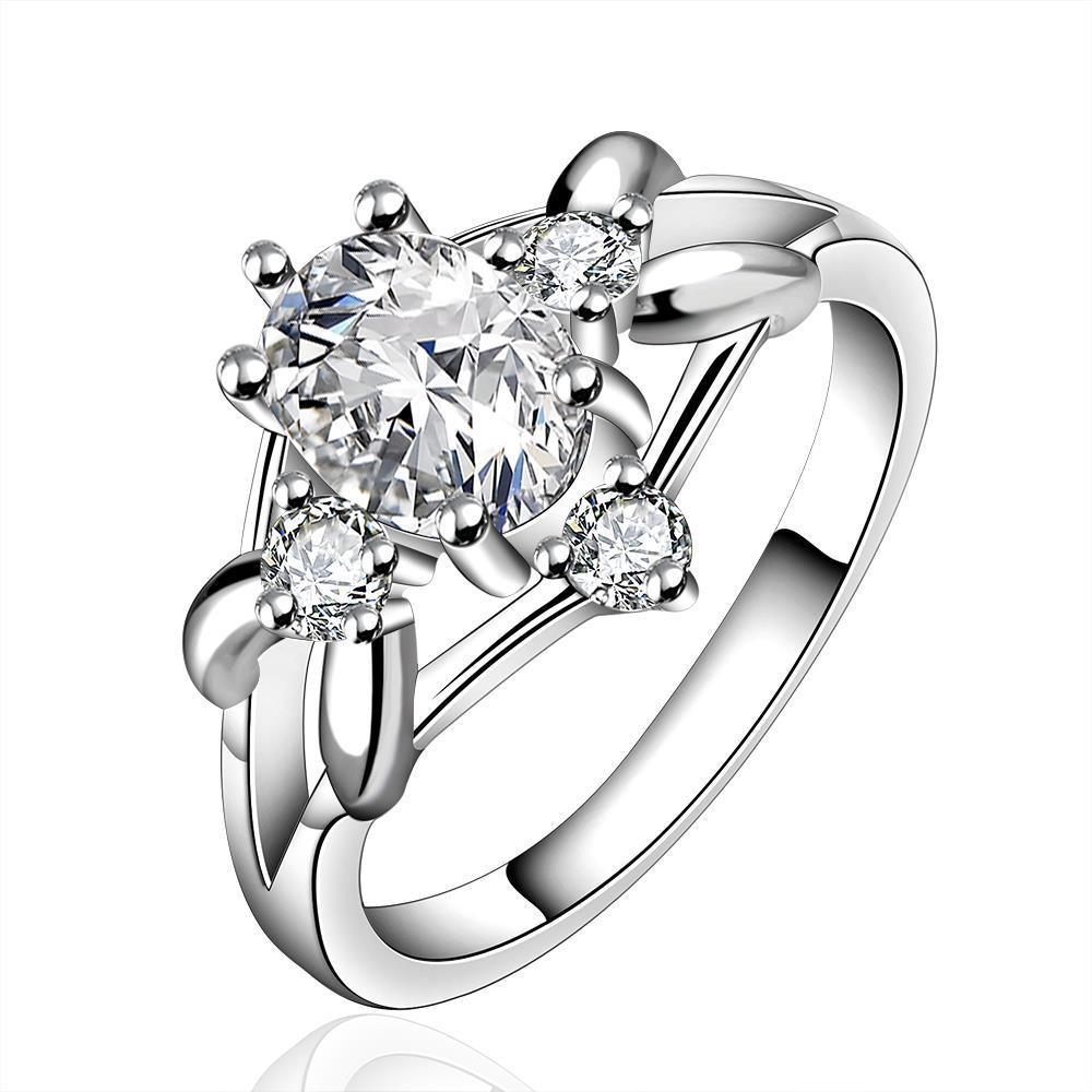 Vienna Jewelry Sterling Silver Crystal Jewel Curved Ring Size: 7