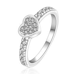 Vienna Jewelry Sterling Silver Heart Shaped Jewels Covering Petite Ring Size: 7 - Thumbnail 0