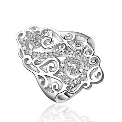 Vienna Jewelry Sterling Silver Swirl Emblem Large Ring Size: 7 - Thumbnail 0