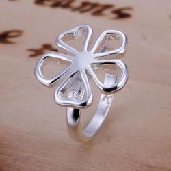 Vienna Jewelry Silve Tone Hollow Clover Petite Ring Size: 8 - Thumbnail 0