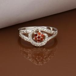 Vienna Jewelry Sterling Silver Curved Ruby Emblem Petite Ring Size: 8 - Thumbnail 0