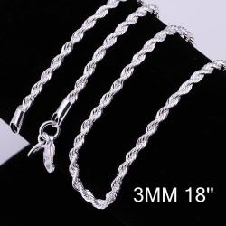 Vienna Jewelry Sterling Silver Modern Swirl Chain Necklace - Thumbnail 0