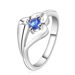 Vienna Jewelry Sterling Silver Mock Sapphire Abstract Curved Petite Ring Size: 7 - Thumbnail 0