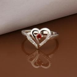 Vienna Jewelry Sterling Silver Ruby Hollow Hearts Petite Ring Size: 8 - Thumbnail 0