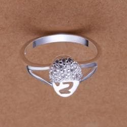 Vienna Jewelry Sterling Silver Disco Crystal Pav'e Ring Size: 8 - Thumbnail 0
