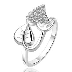 Vienna Jewelry Sterling Silver Duo-Leaf Set Ring Size: 8 - Thumbnail 0