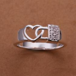 Vienna Jewelry Sterling Silver Interlocked Heart Shaped Petite Ring Size: 8 - Thumbnail 0