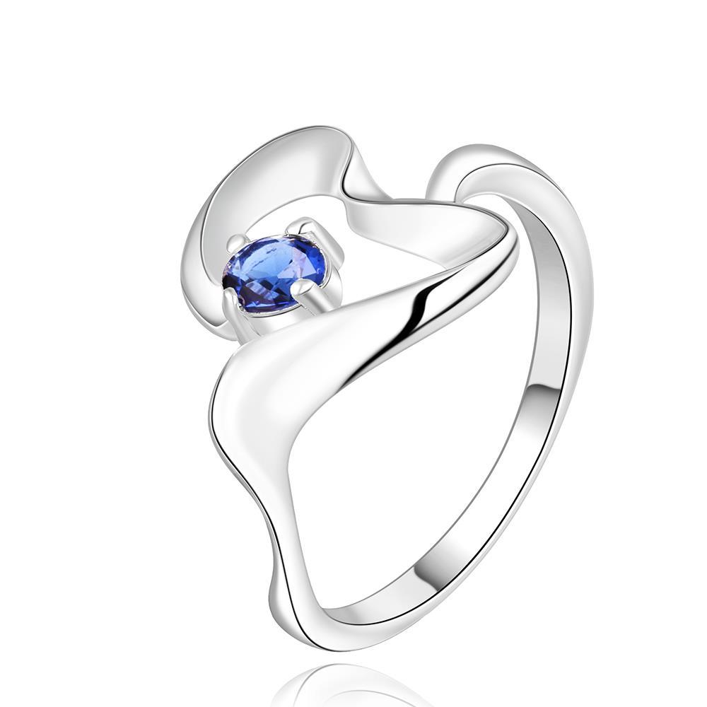 Vienna Jewelry Sterling Silver Mock Sapphire Abstract Curved Petite Ring Size: 8