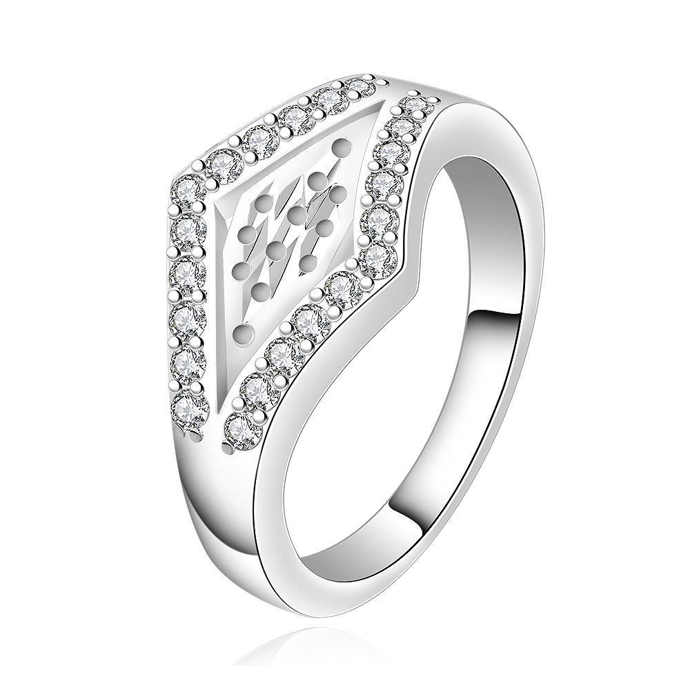 Vienna Jewelry Sterling Silver Diamond Shaped Emblem Petite Ring Size: 8