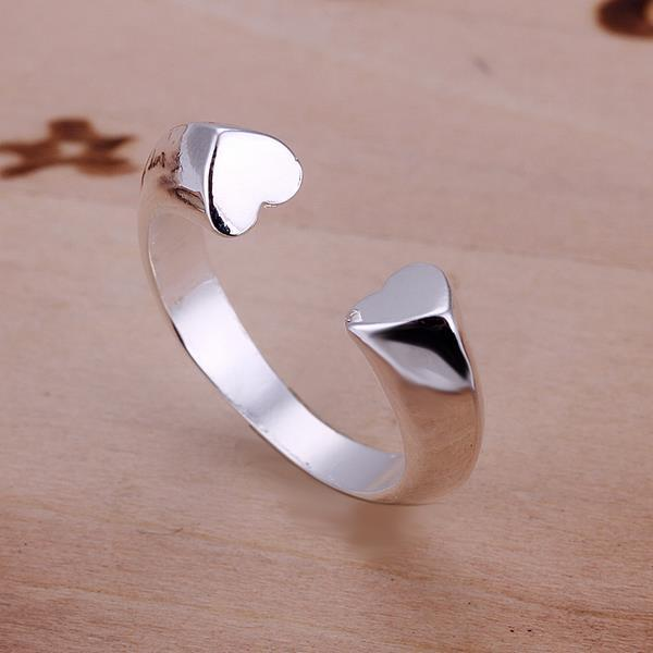 Vienna Jewelry Sterling Silver Open Clasp Petite Heart Shaped Resizable Ring