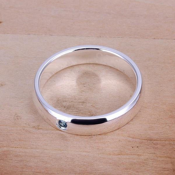 Vienna Jewelry Sterling Silver Petite Sapphire Gem Classical Ring Size: 7