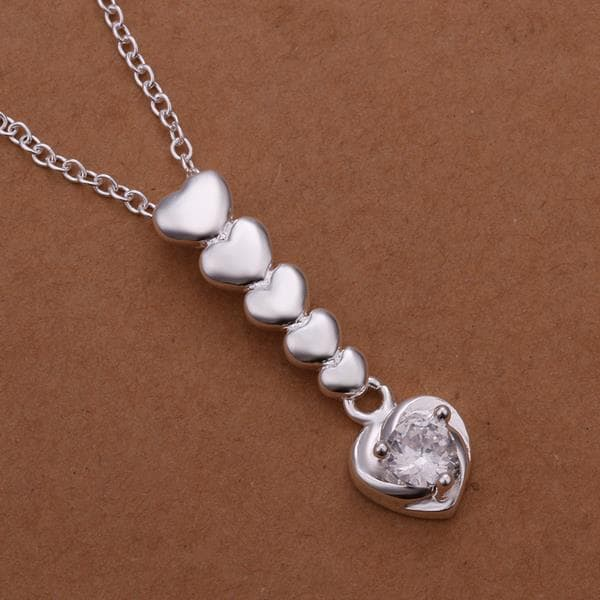 Vienna Jewelry Sterling Silver Dangling Heart Pendant Necklace