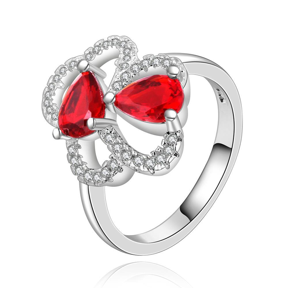 Vienna Jewelry Sterling Silver Duo-Mid Ruby Gems Petite Ring Size: 8