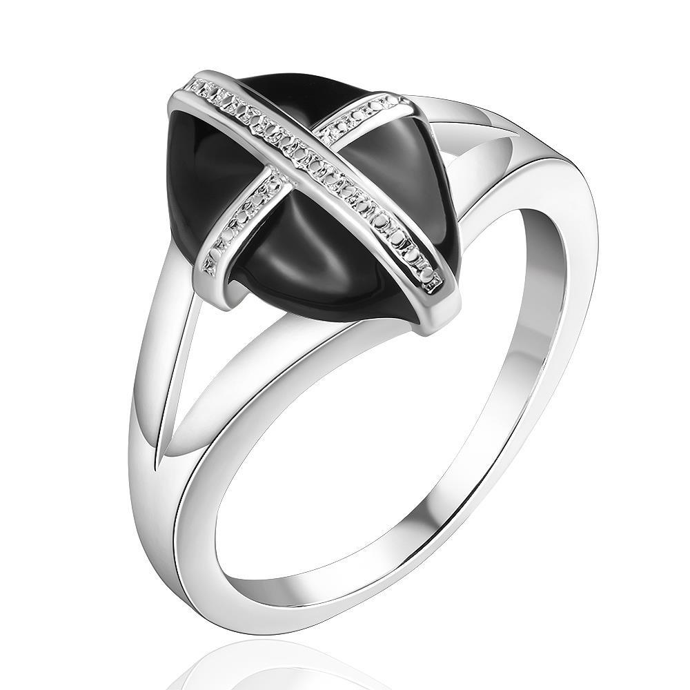 Vienna Jewelry Sterling Silver Onyx Diamond Shaped Abstract Ring Size: 8