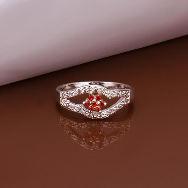 Vienna Jewelry Sterling Silver Curved Ruby Pendant Petite Ring Size: 8