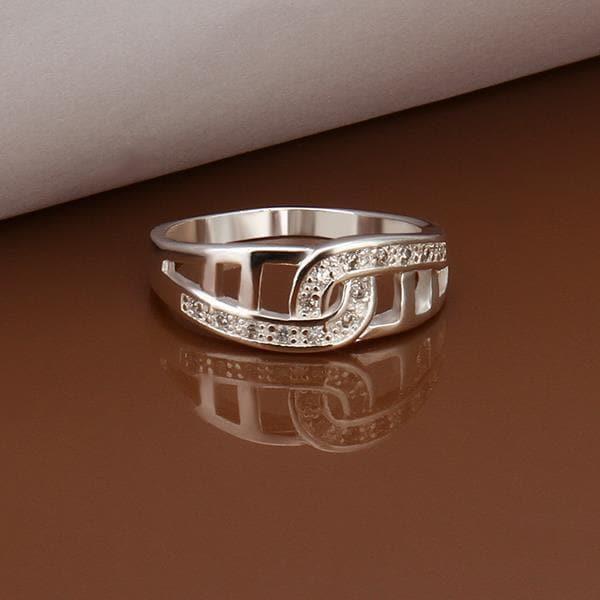 Vienna Jewelry Sterling Silver Laser Cut Interlocking Petite Ring Size: 8